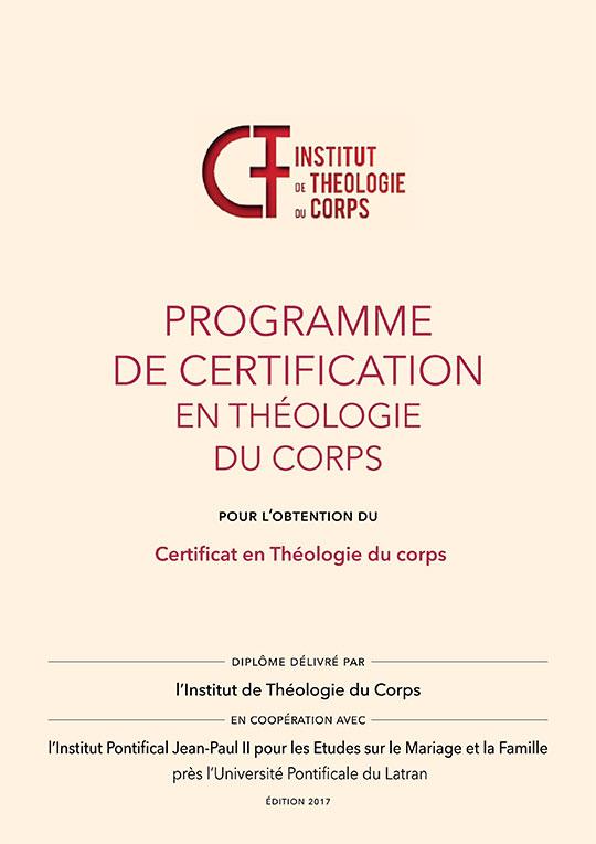 Plaquette de la certification en théologie du corps