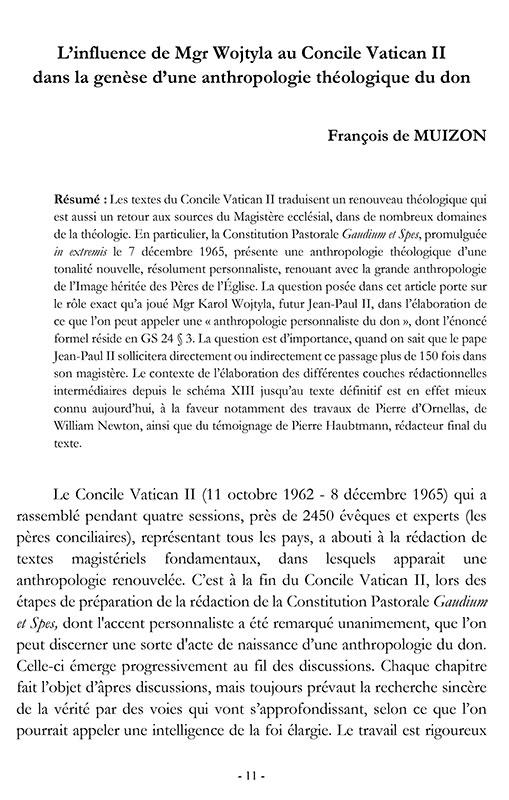 Ecce Corpus 1 : L'influence de Mgr Wojtyla au Concile Vatican II dans la genèse d'une anthropologie théologique du don