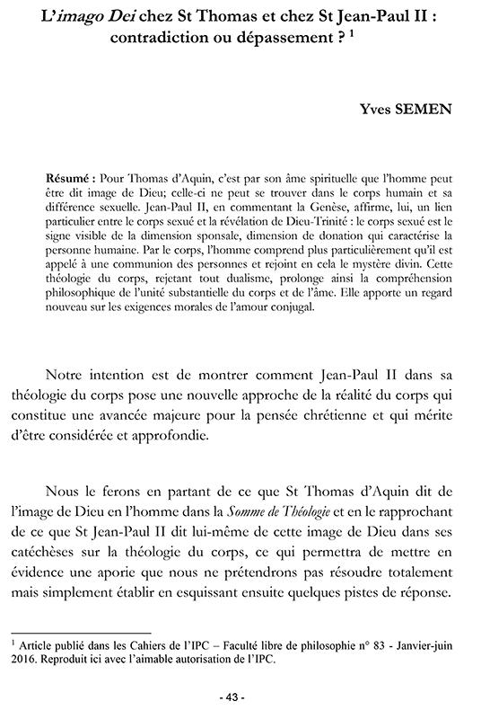 Ecce corpus 1 - Yves Semen - Imago Dei chez St Thomas et St Jean-Paul II