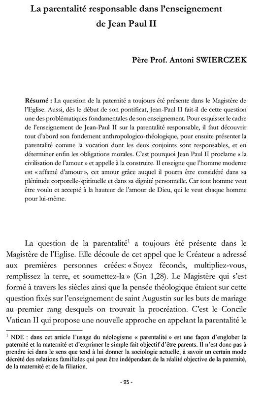 Antoni SWIERCZEK, La parentalité responsable dans l'enseignement de Jean-Paul II