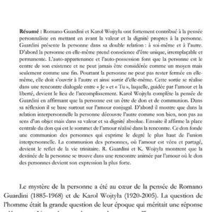 Dovydas KUCINSKAS, La personne et sa destinée. Une réflexion à partir de Romano Guardini et Karol Wojtyła