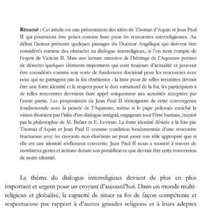 Michał PALUCH, Refléter les rythmes du Jardinier divin : la rencontre des religions selon Thomas d'Aquin et Jean-Paul II