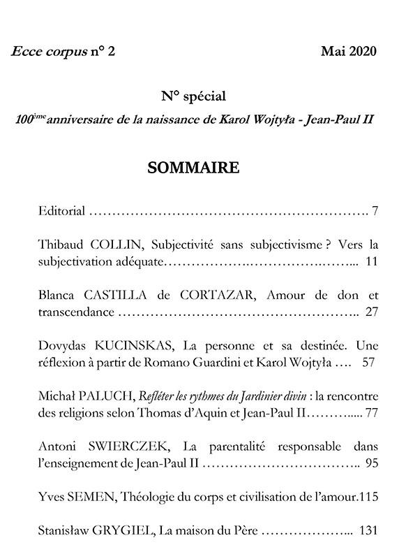 Ecce Corpus N°2 - Sommaire