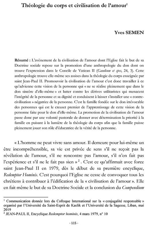 Yves SEMEN, Théologie du corps et civilisation de l'amour