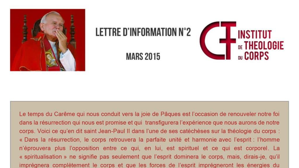 Lettre d'information N°2 - mars 2015