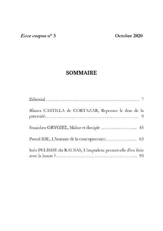 Ecce Corpus Numéro 3 - Sommaire